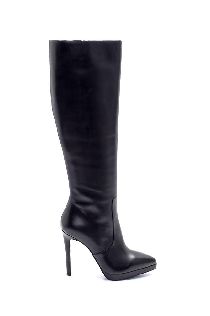 Siyah Kadın Deri İnce Topuklu Çizme 5638198672