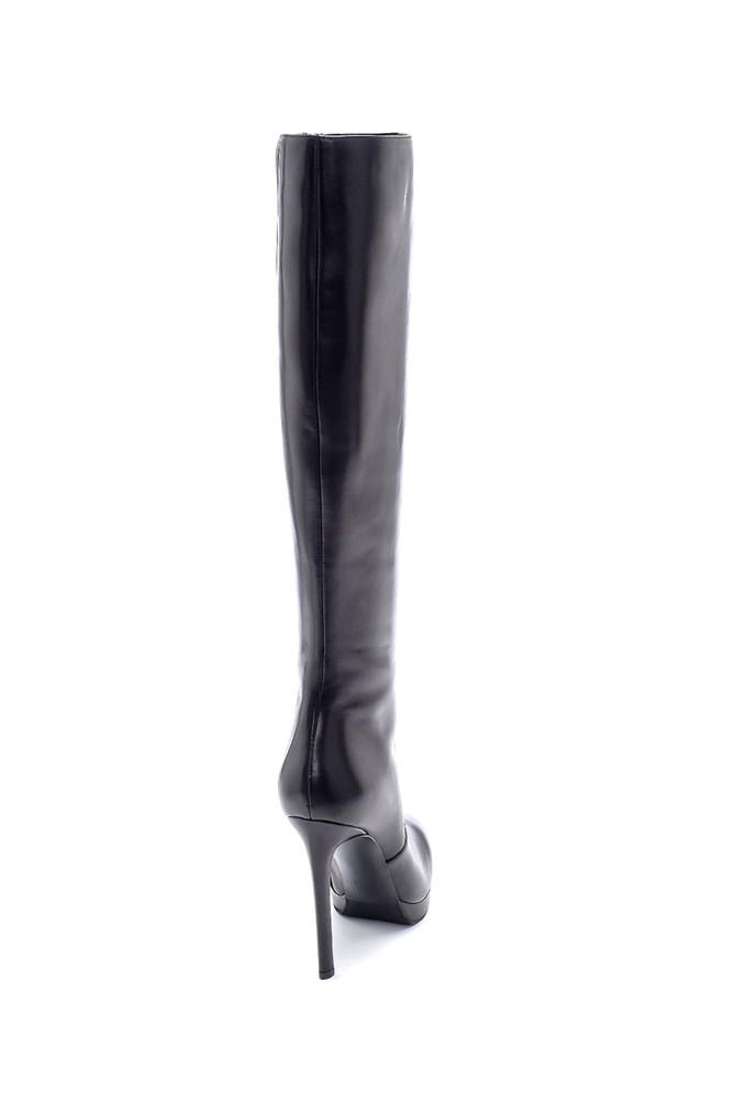 5638198672 Kadın Deri İnce Topuklu Çizme