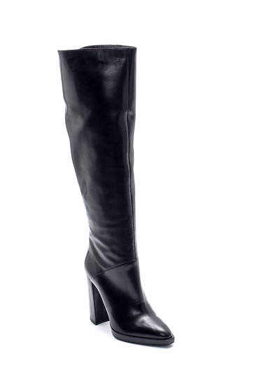Siyah Kadın Deri Topuklu Çizme 5638198690