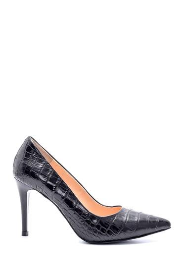 Siyah Kadın Deri Kroko Desenli Stiletto 5638203026