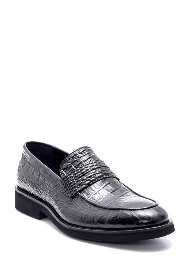 Siyah Erkek Deri Kroko Desen Klasik Loafer 5638209822