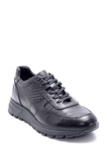 Siyah Erkek Deri Kroko Desen Sneaker 5638211841
