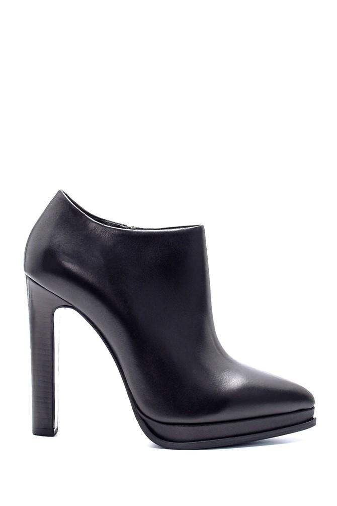 Siyah Kadın Deri Topuklu Bot 5638206129