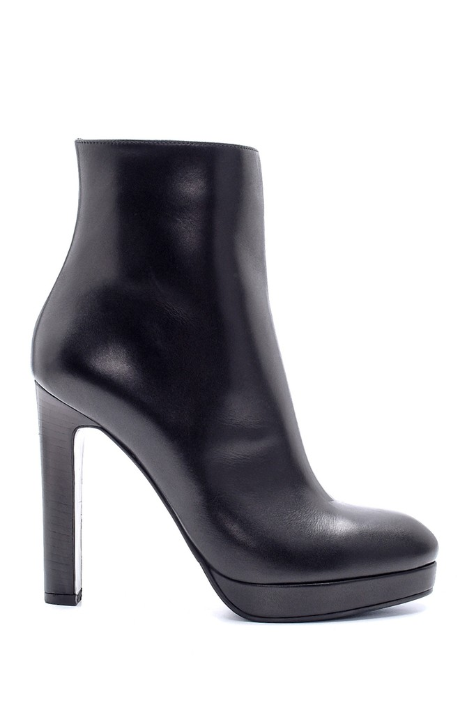 Siyah Kadın Deri Topuklu Bot 5638206139