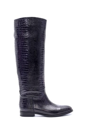 Siyah Kadın Deri Kroko Desenli Çizme 5638206260