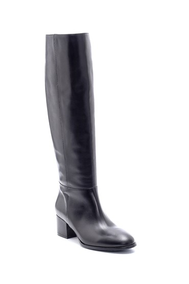 Siyah Kadın Deri Topuklu Çizme 5638206268