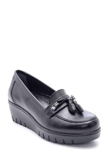 Siyah Kadın Deri Püskül Detaylı Dolgu Topuk Ayakkabı 5638202436