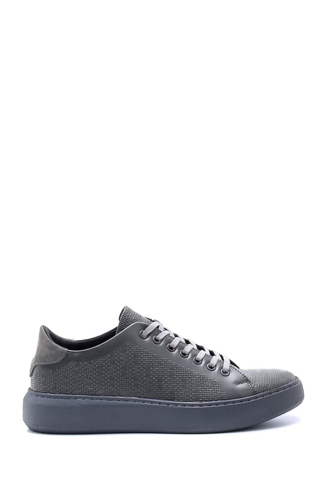 Gri Erkek Deri Baskılı Sneaker 5638203991