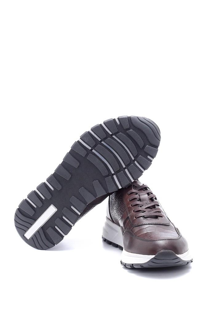 5638211839 Erkek Deri Kroko Desen Sneaker