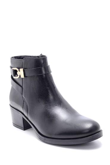 Siyah Kadın Deri Topuklu Bot 5638213493
