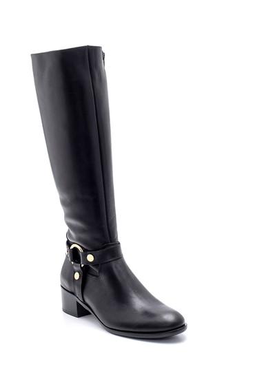 Siyah Kadın Deri Topuklu Çizme 5638193993