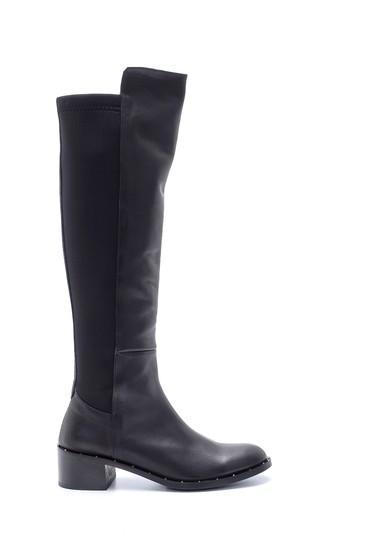 Siyah Kadın Deri Topuklu Çizme 5638194005