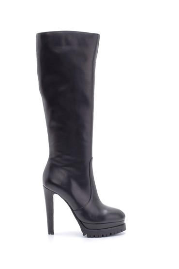 Siyah Kadın Deri Topuklu Çizme 5638199253