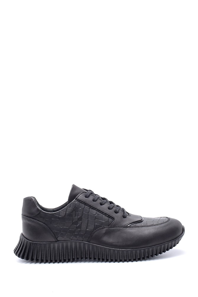 Siyah Erkek Deri Sneaker 5638203988