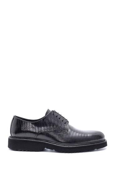 Siyah Erkek Deri Baskılı Klasik Ayakkabı 5638209843