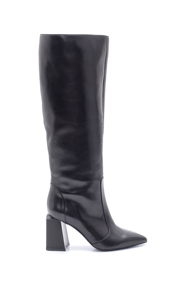 Siyah Kadın Deri Topuklu Çizme 5638206278