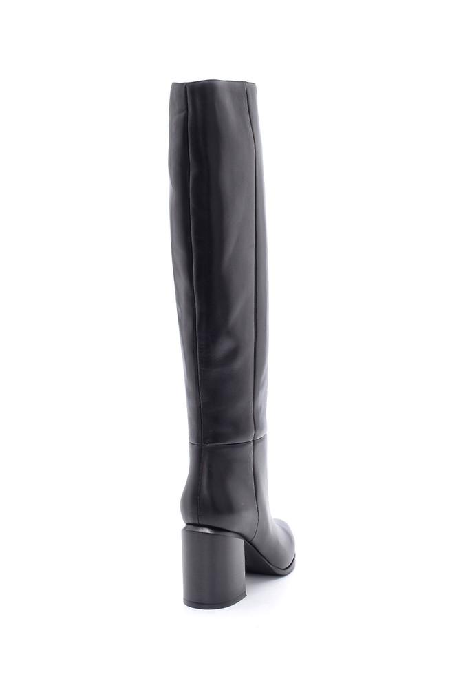 5638206306 Kadın Deri Topuklu Çizme