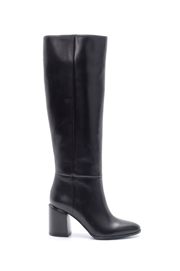 Siyah Kadın Deri Topuklu Çizme 5638206306