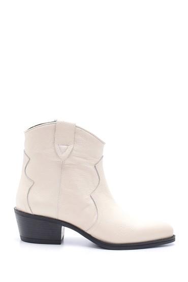 Beyaz Kadın Deri Kovboy Bot 5638209638