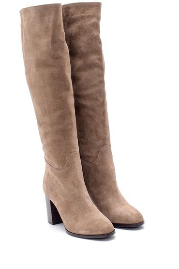 Kahverengi Kadın Süet Topuklu Çizme 5638209685