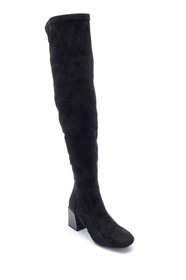 Siyah Kadın Süet Topuklu Çizme 5638209723