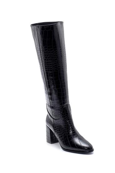Siyah Kadın Kroko Desenli Topuklu Çizme 5638213187