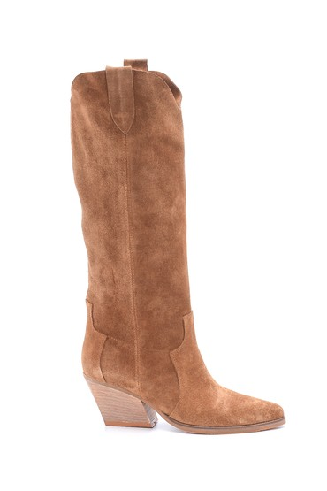 Bej Kadın Süet Topuklu Çizme 5638213337