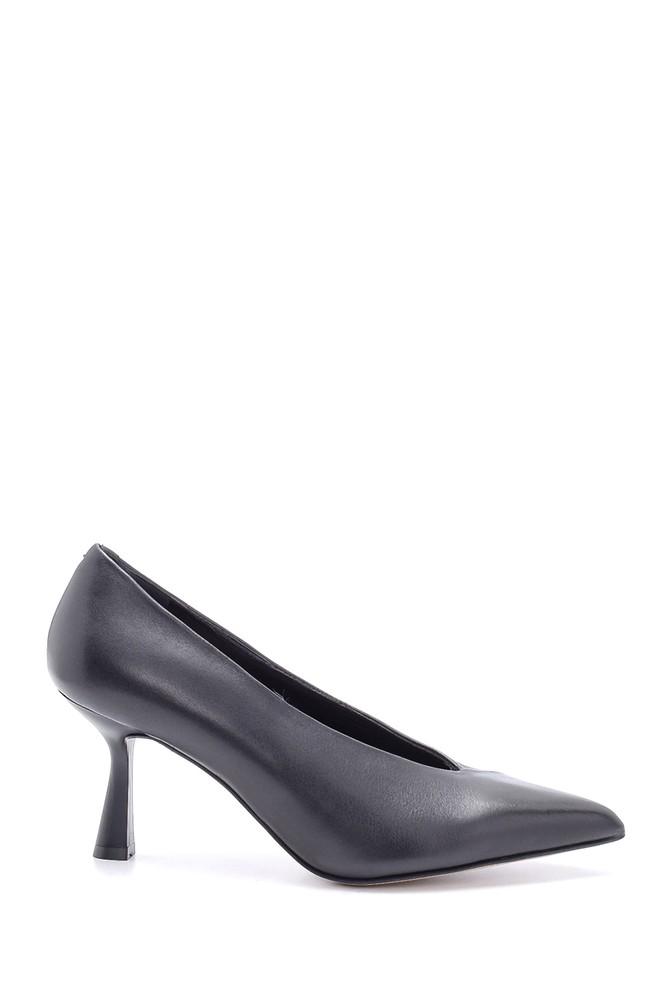 Siyah Kadın Deri Topuk Detaylı Stiletto 5638213709