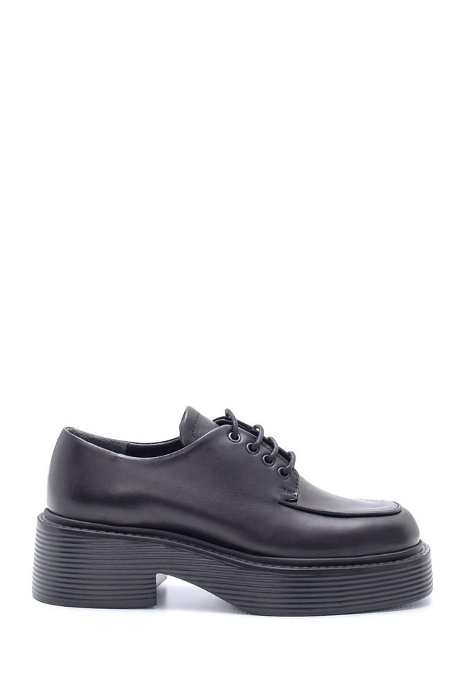 Siyah Kadın Deri Yüksek Tabanlı Casual Ayakkabı 5638216520