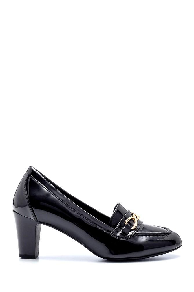 Siyah Kadın Rugan Kalın Topuklu Ayakkabı 5638199545