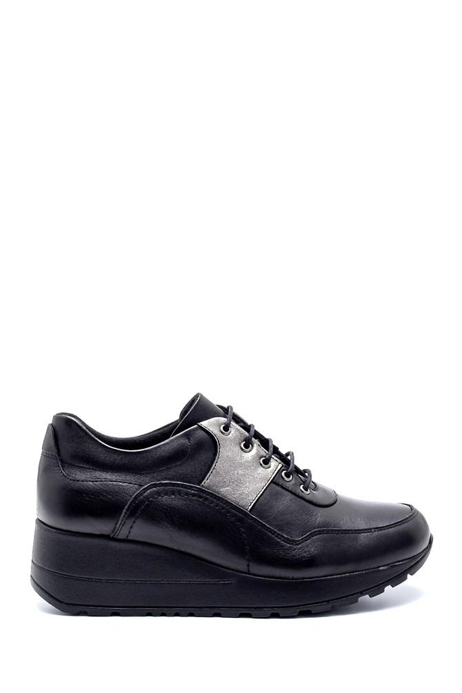 Siyah Kadın Deri Dolgu Topuk Sneaker 5638202476