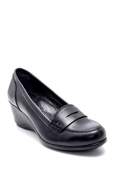 Siyah Kadın Deri Dolgu Topuklu Ayakkabı 5638202640