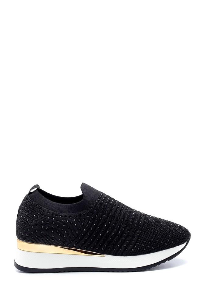 Siyah Kadın Yüksek Tabanlı Çorap Sneaker 5638206372