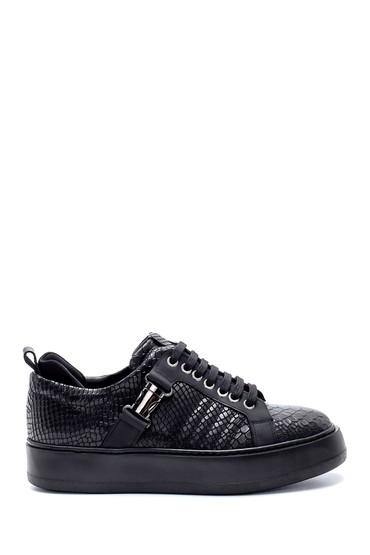Siyah Erkek Deri Kroko Desenli Sneaker 5638207965