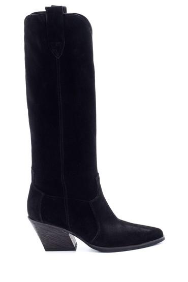 Siyah Kadın Süet Topuklu Çizme 5638213339