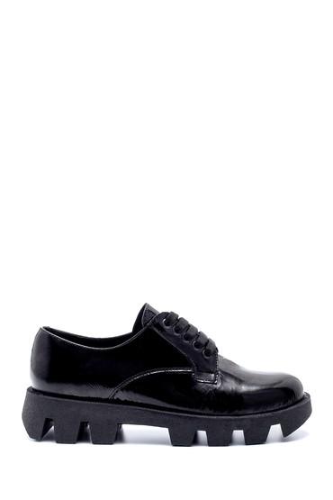 Siyah Kadın Deri Rugan Kalın Tabanlı Ayakkabı 5638216510