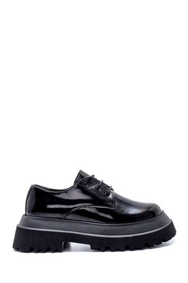 Siyah Kadın Deri Rugan Kalın Tabanlı Ayakkabı 5638216530