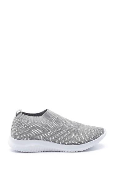 Gri Kadın Taş Detaylı Çorap Sneaker 5638191684