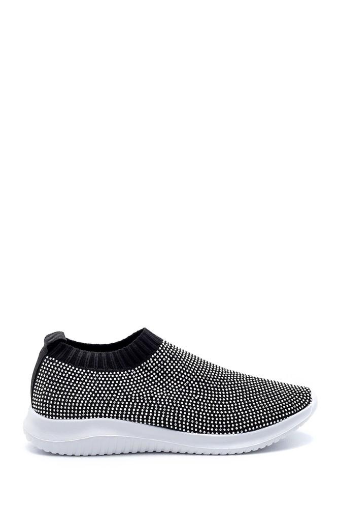 Siyah Kadın Taş Detaylı Çorap Sneaker 5638191689