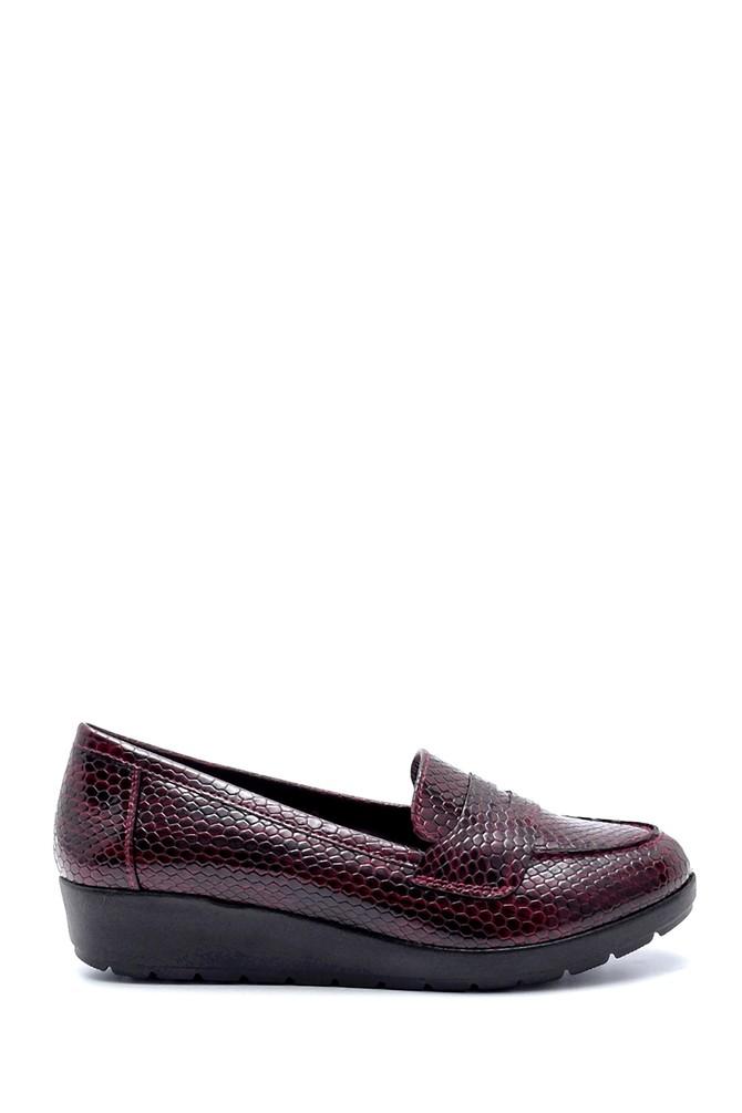 Bordo Kadın Yılan Derisi Desenli Ayakkabı 5638199363