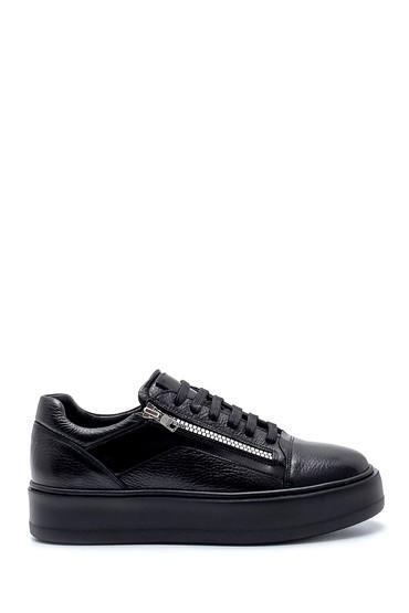 Siyah Erkek Deri Fermuar Detaylı Sneaker 5638207951