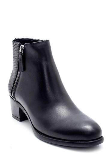 Siyah Kadın Deri Fermuar Detaylı Topuklu Bot 5638212927