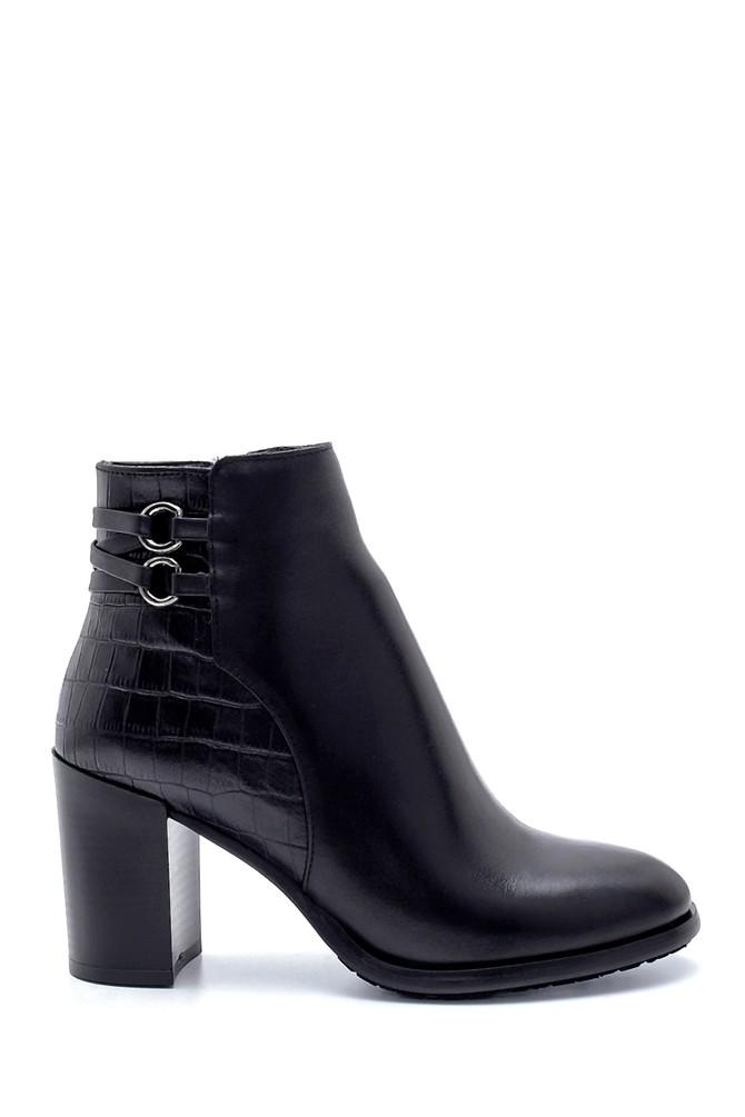 Siyah Kadın Deri Toka Detaylı Topuklu Bot 5638212980