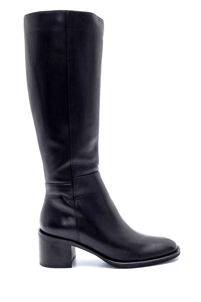 Siyah Kadın Deri Topuklu Çizme 5638213027