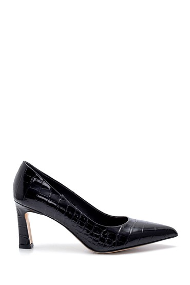 Siyah Kadın Deri Kroko Desenli Stiletto 5638213697