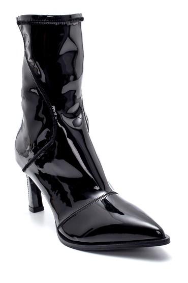 Siyah Kadın Deri Rugan Fermuar Detaylı Topuklu Bot 5638213837