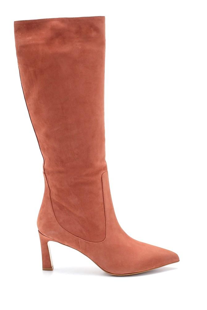 Turuncu Kadın Nubuk Deri Topuklu Çizme 5638213847