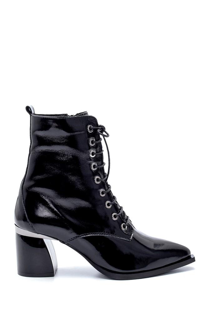 Siyah Kadın Deri Rugan Topuklu Bot 5638229083