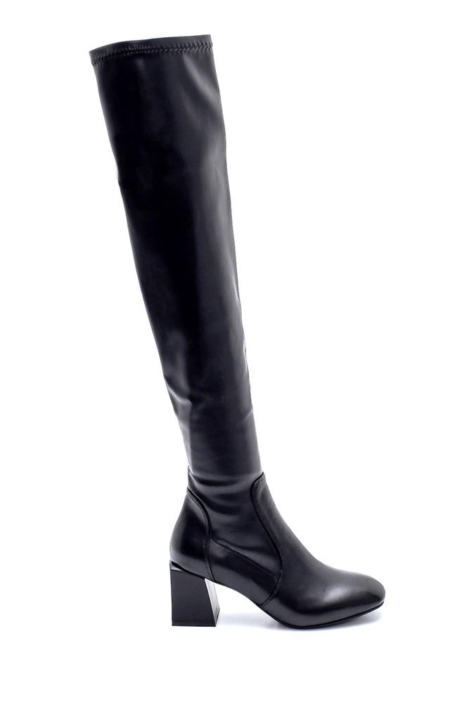 Siyah Kadın Deri Topuklu Çizme 5638226332