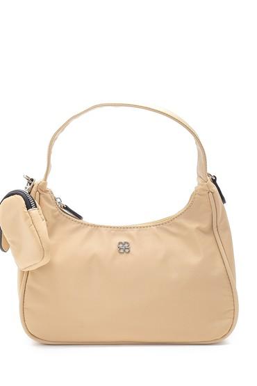 Bej Kadın Bozuk Para Cüzdanlı Baget Çanta 5638195357